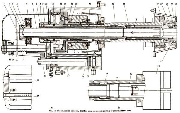 1341 Механизм подачи и зажима материала в токарно-револьверном станке 1341