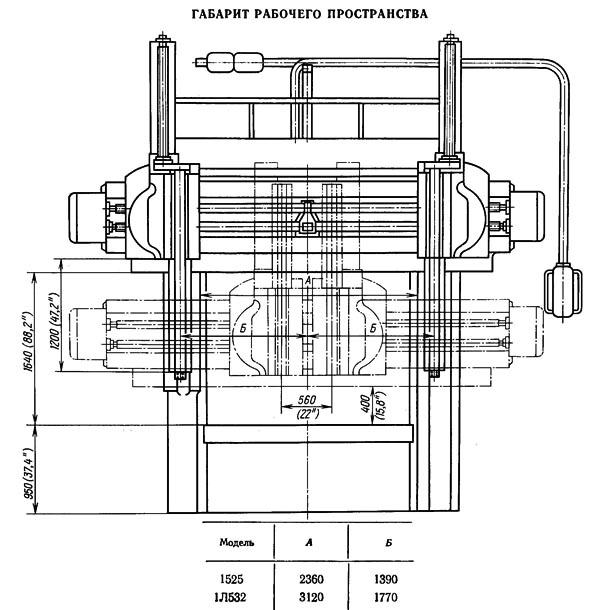 1Л532 Габарит рабочего пространства и чертеж общего вида станка