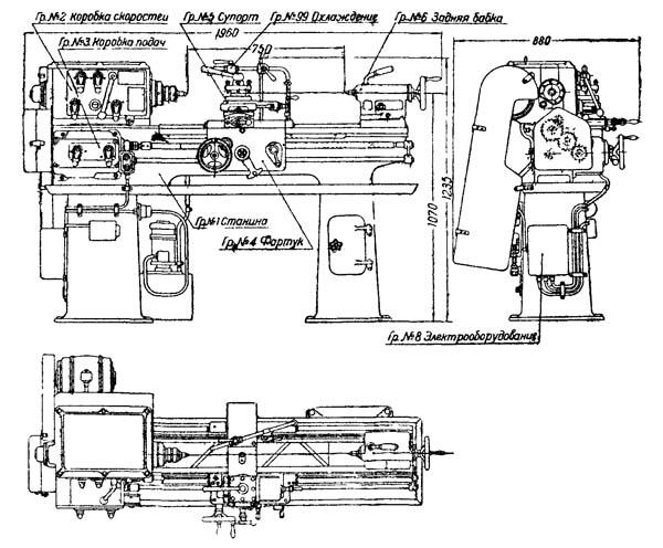 Габаритные размеры рабочего пространства токарно-винторезного станка 1615