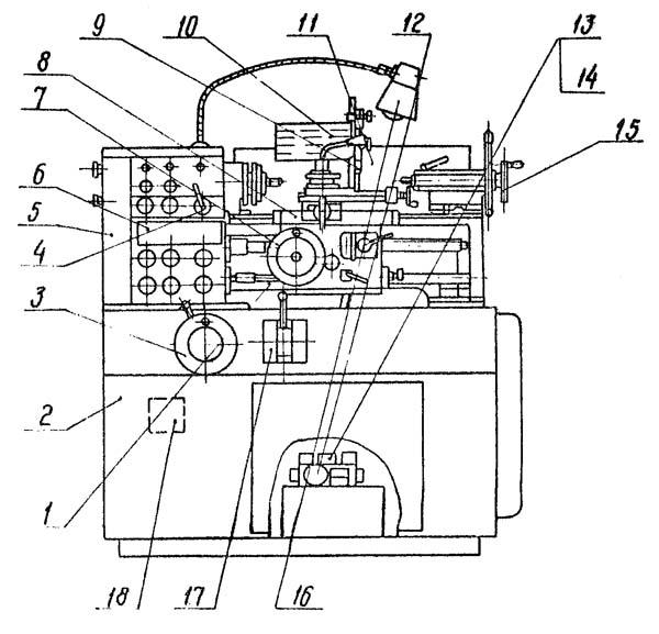 16Б05А Расположение составных частей токарно-винторезного станка