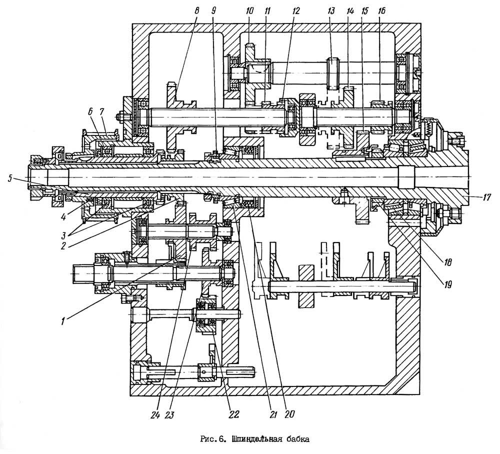 Шпиндельная бабка токарно-винторезного станка 16Б16КП