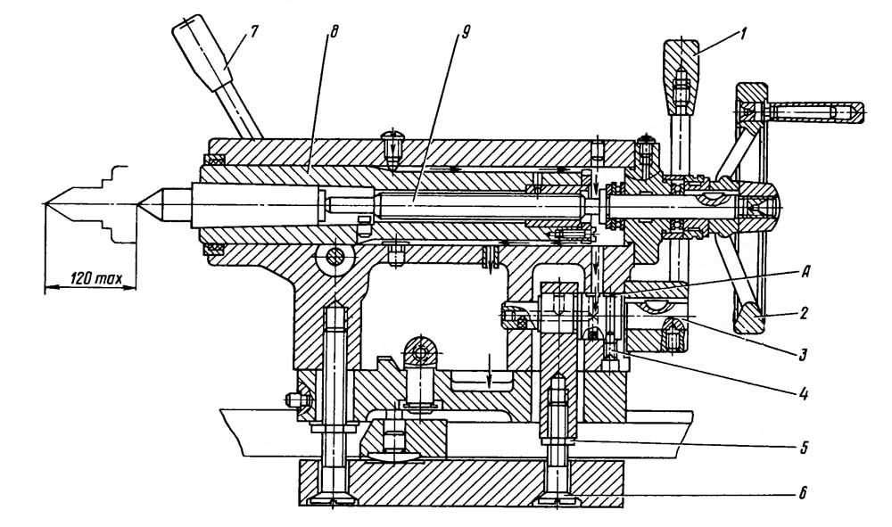 Задняя бабка токарно-винторезного станка 16Б16КП