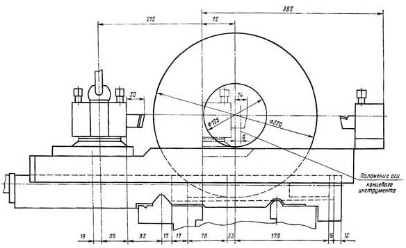 16Б16Т1 Рабочая зона токарного станка с однопозиционным передним резцедержателем