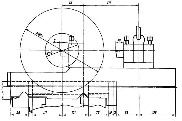 16Б16Т1 Рабочая зона токарного станка с однопозиционным задним резцедержателем