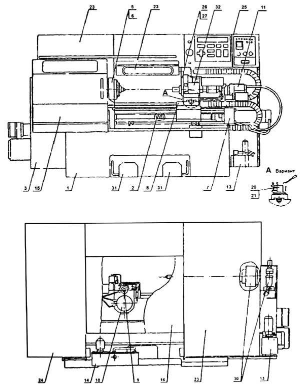 16Б16Т1 Расположение составных частей токарного станка