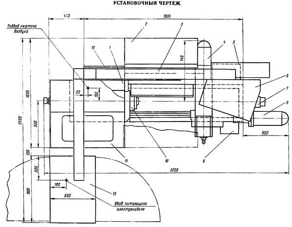 16Б16Т1 Установочный чертеж токарного станка