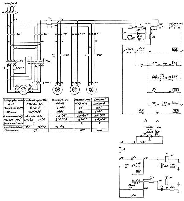 Схема электрическая токарно-винторезного станка 16Б20П