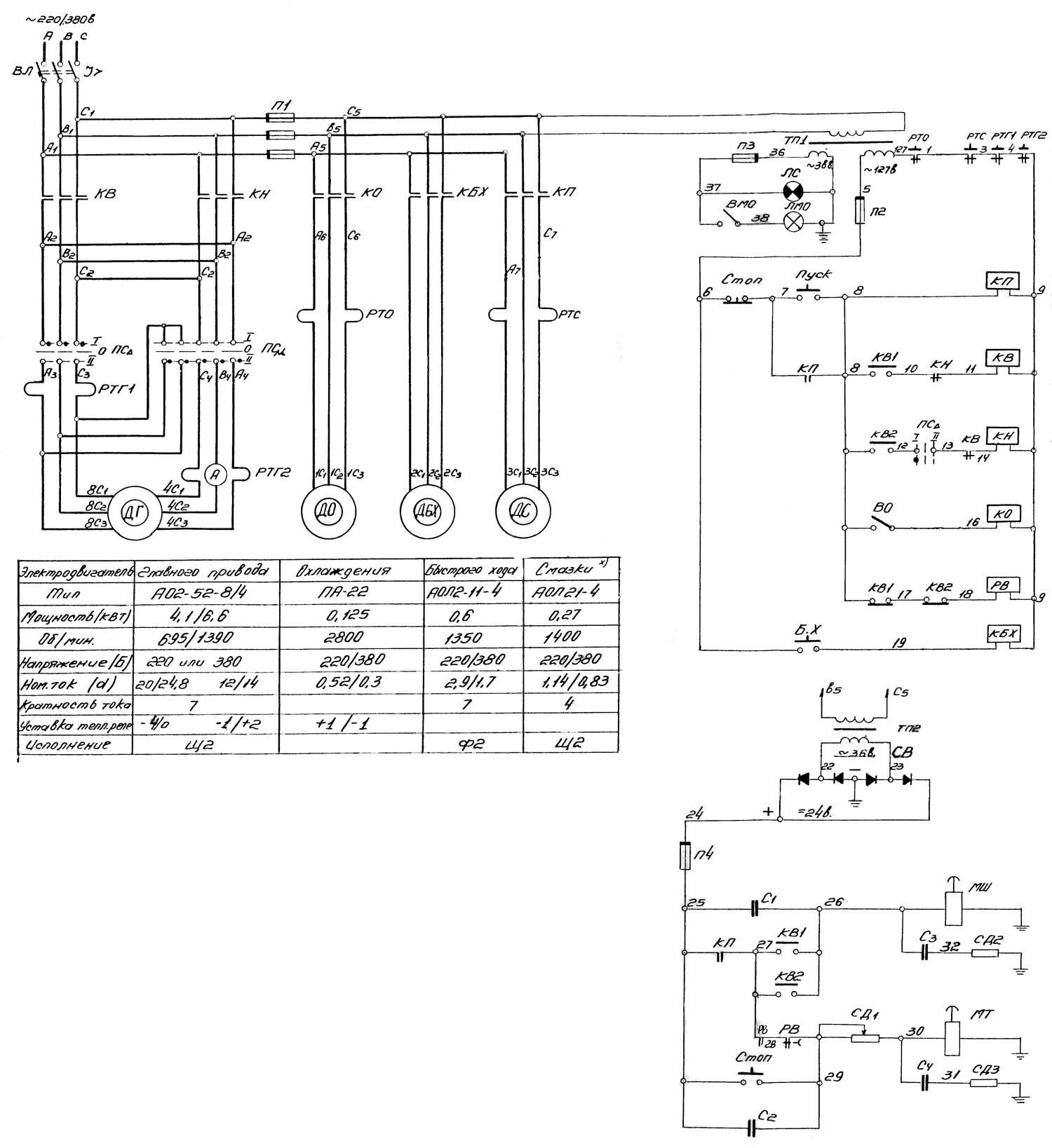 Схема электрическая станка 16б16кп
