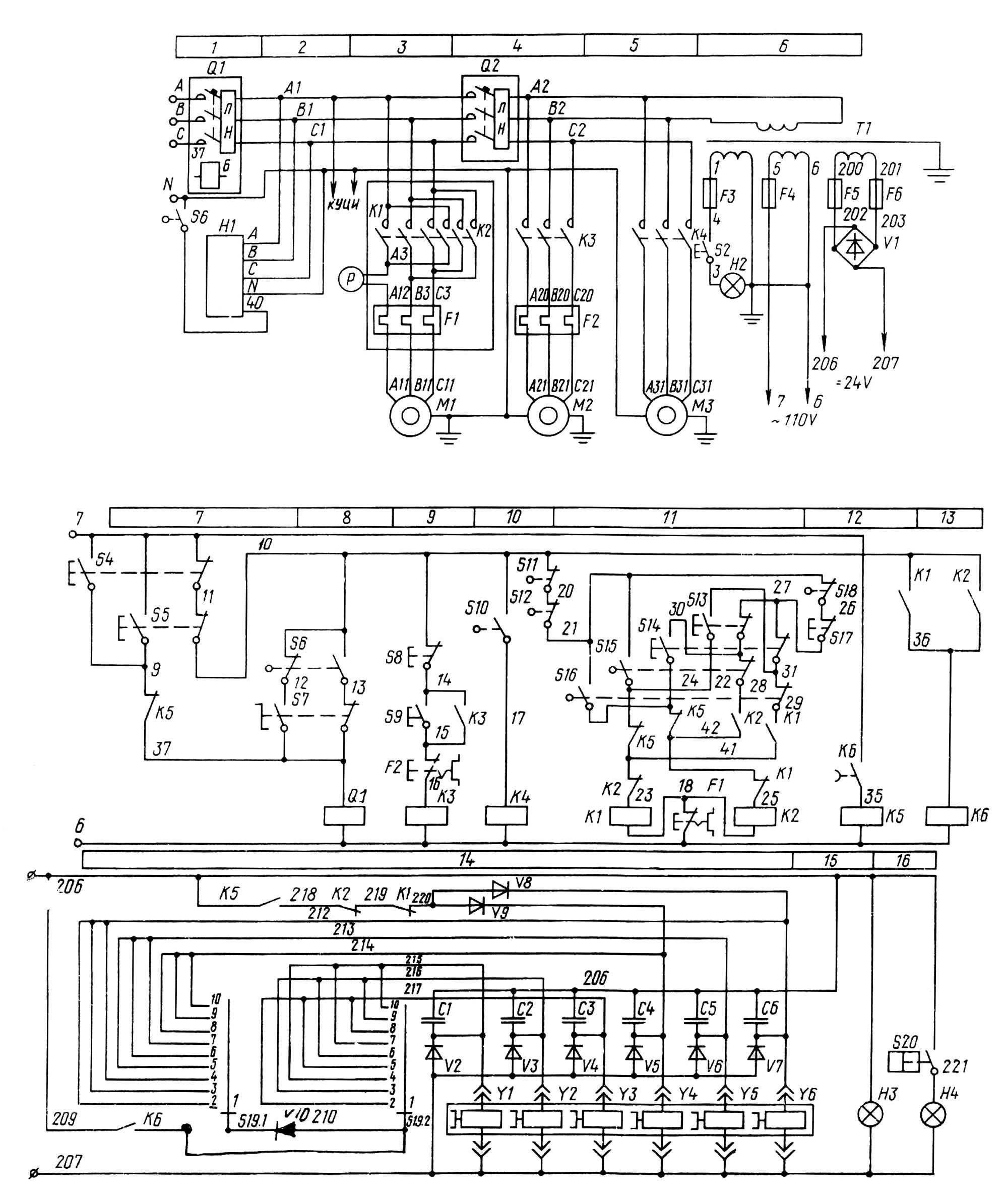Схемы пультов к станкам