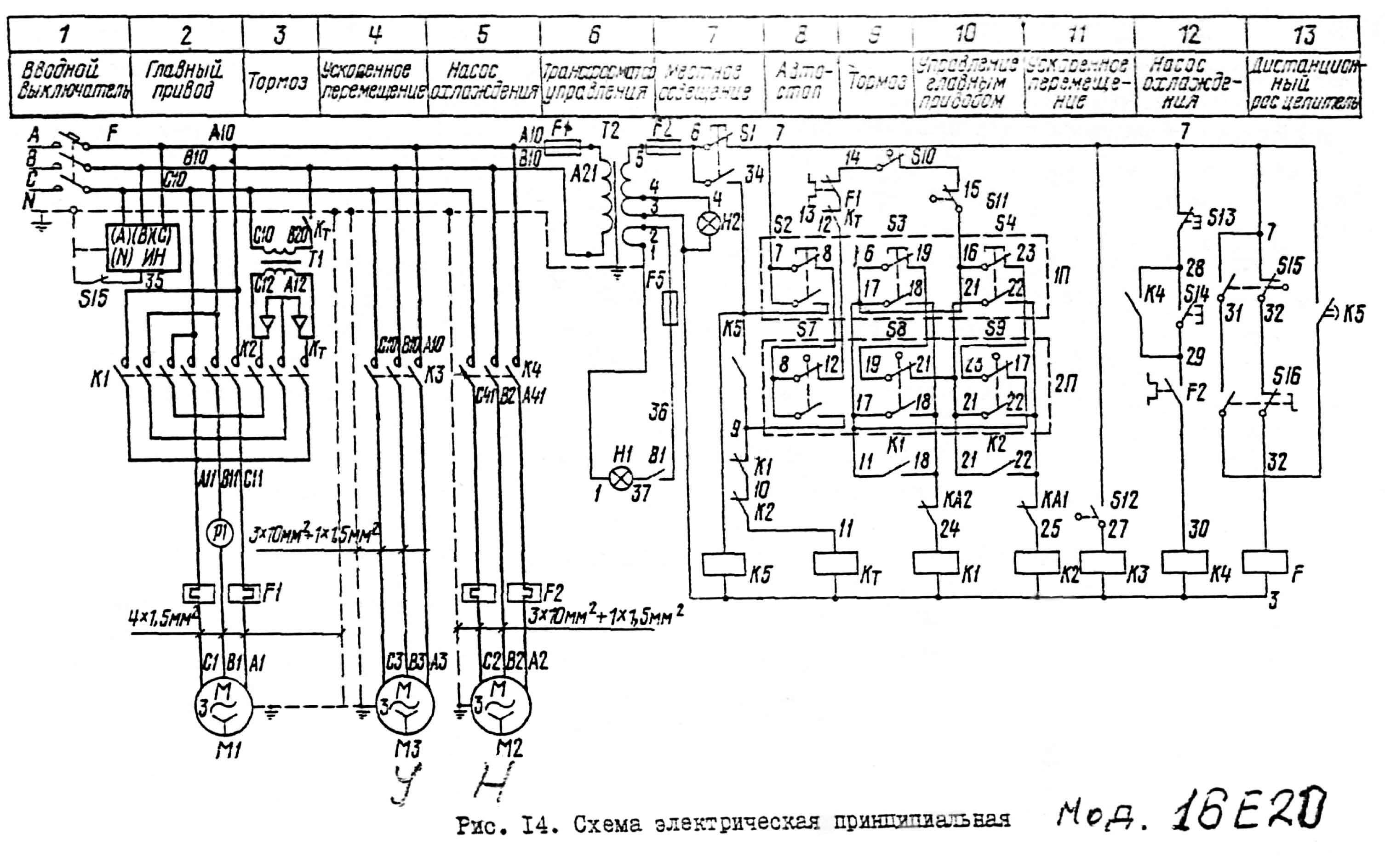 принципиальная электрическая схема щлифовального станка