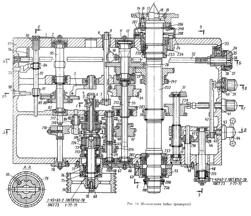 Главный привод станка 16К20.