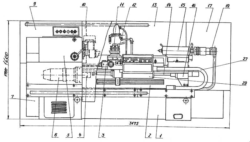 16К20Т1 Расположение составных частей токарного станка