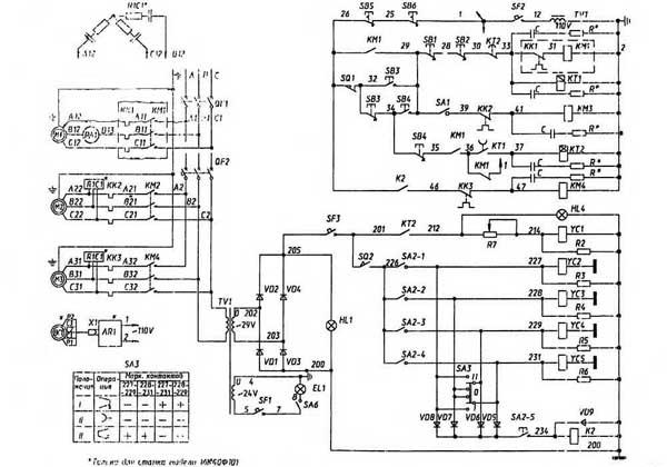 16К40 Схема электрическая