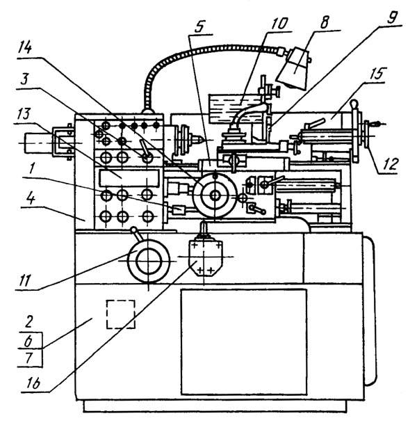 16М05А Расположение составных частей токарно-винторезного станка