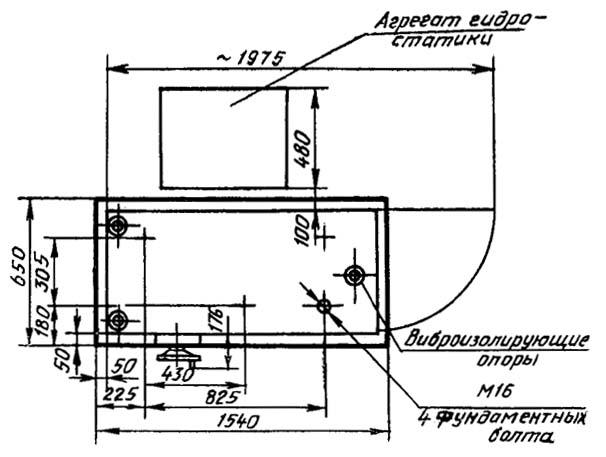 16М05А установочный чертеж токарно-винторезного станка