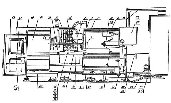 Расположение составных частей токарного станка с ЧПУ 16М30Ф3