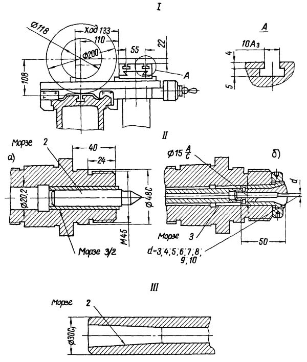 16У04П Габаритные размеры рабочего пространства токарно-винторезного станка