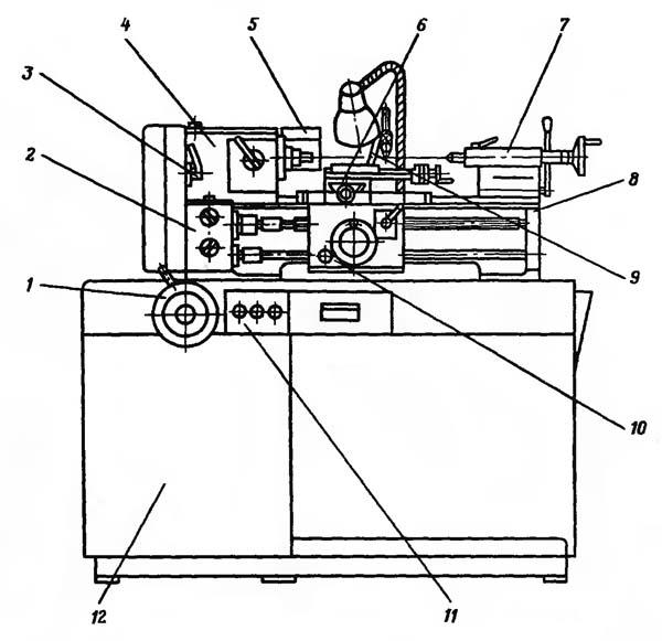 16У04П Расположение составных частей токарно-винторезного станка