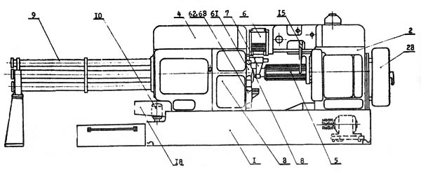 1А240 Расположение составных частей многошпиндельным автоматом