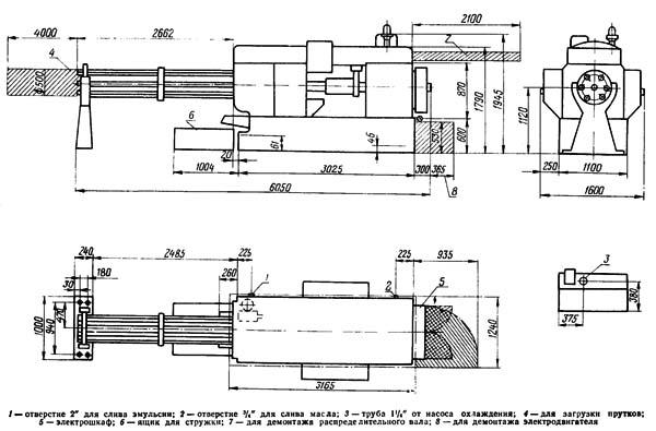 Установочный чертеж шестишпиндельного автомата 1А240