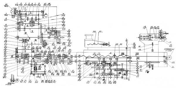 Схема кинематическая токарно-винторезного станка 1a64