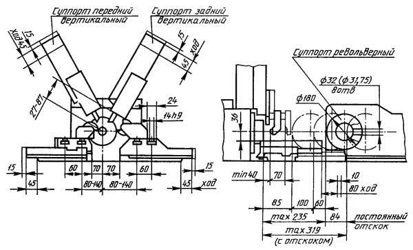 1Б140, 1Б125 Габарит рабочего пространства токарно-револьверного станка