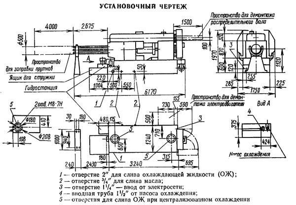 Установочный чертеж шестишпиндельного автомата 1Б240, 1Б240-6, 1Б240-6К, 1Б240П-6, 1Б240П-6К