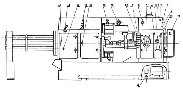 1Б265,1Б265-6 Расположение органов управления многошпиндельным автоматом
