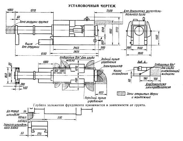 Установочный чертеж многошпиндельного автомата 1Б265,1Б265-6