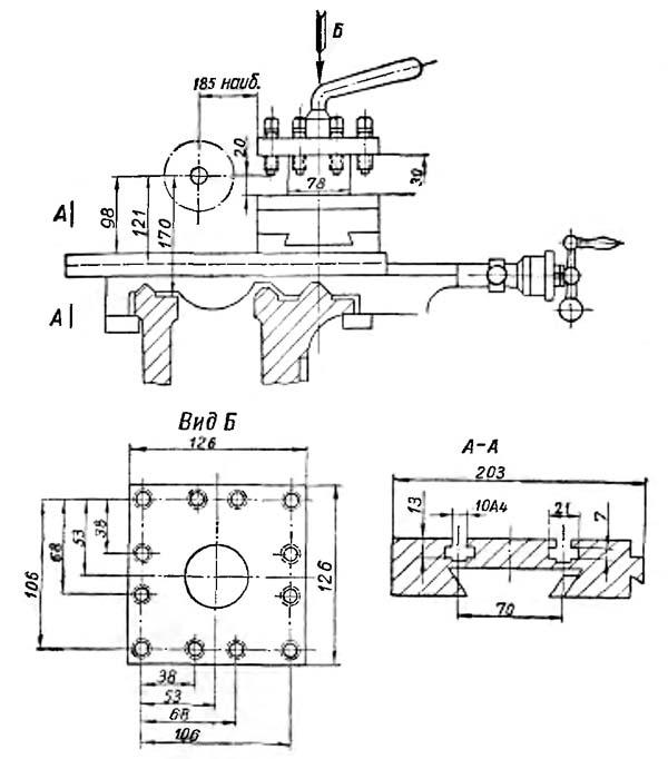 Габариты рабочего пространства токарно-винторезного станка 1Е61М. Суппорт