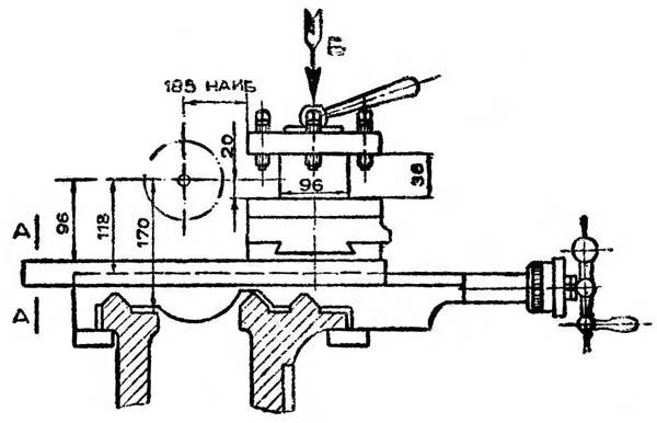 Габариты рабочего пространства токарно-винторезного станка 1Е61МТ