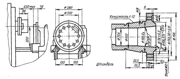 1К341 Габарит рабочего пространства токарно-револьверного станка
