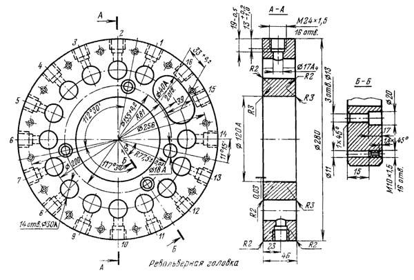 1К341 Посадочные и присоединительные базы токарно-револьверного станка 1К341. Инстументальная револьверная головка