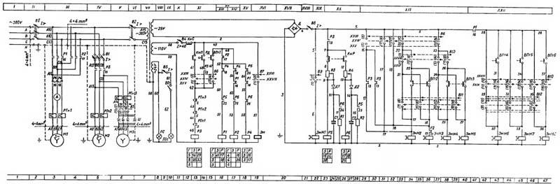 1К341 Схема электрическая токарно-револьверного станка
