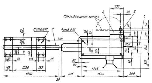 1К341 Установочный чертеж токарно-револьверного станка
