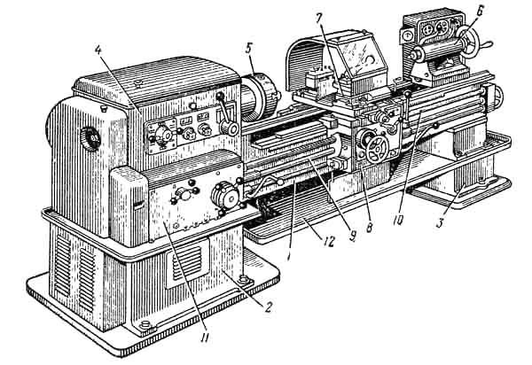 Общий вид универсального токарно-винторезного станка 1К62