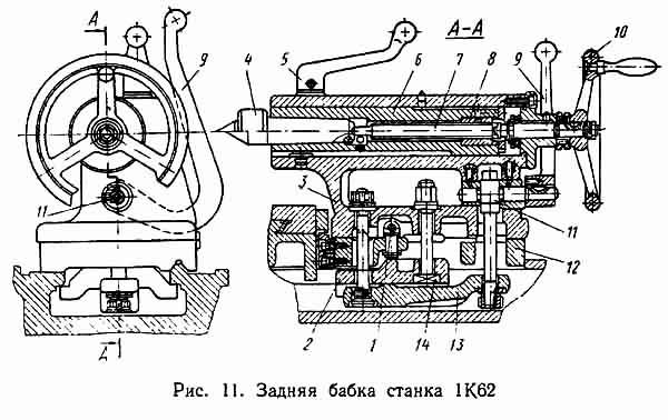 Чертеж задней бабки токарно-винторезного станка 1К62