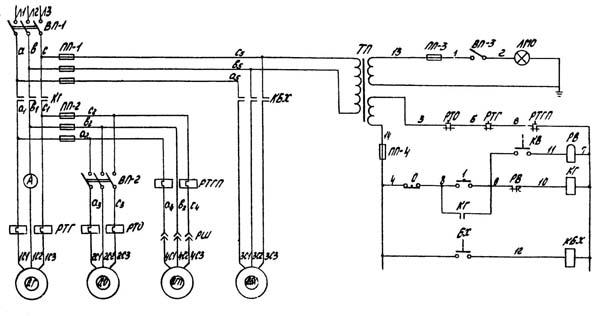 Схема электрическая токарно-винторезного станка 1К62