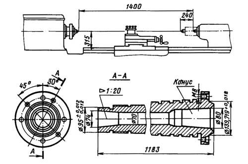 1м63 Станок токарно-винторезный. Посадочные и присоединительные базы