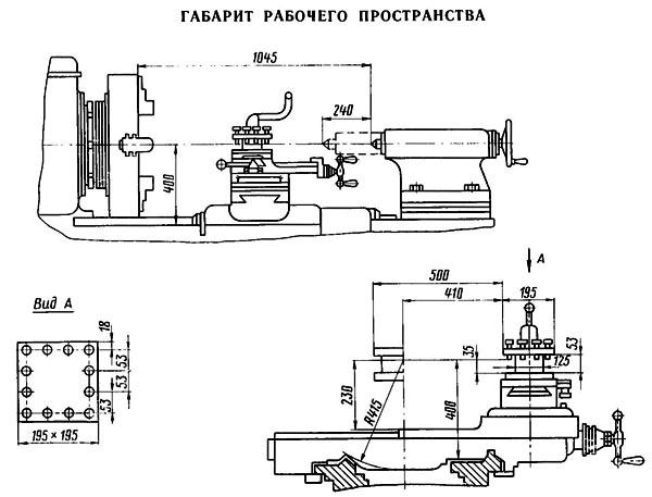 1Н983 Габаритные размеры рабочего пространства трубонарезного станка