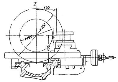 1П611 Габаритные размеры рабочего пространства токарно-винторезного станка