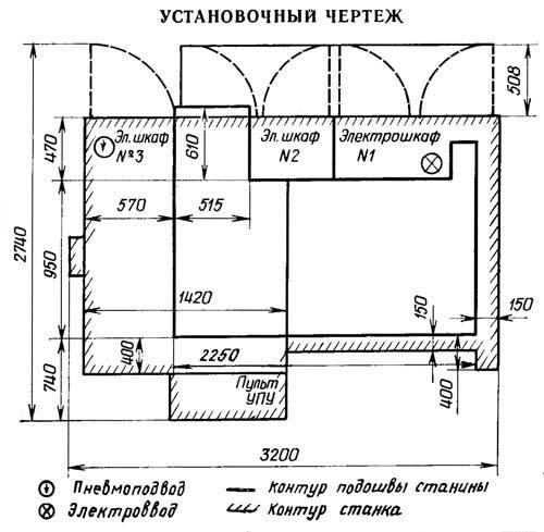 Установочный чертеж токарного станка с ЧПУ 1П756ДФ3