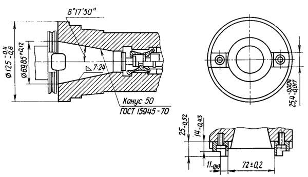 2254ВМФ4 Посадочные и присоединительные размеры вертикального сверлильно-фрезерно-расточного станка. Конец шпинделя