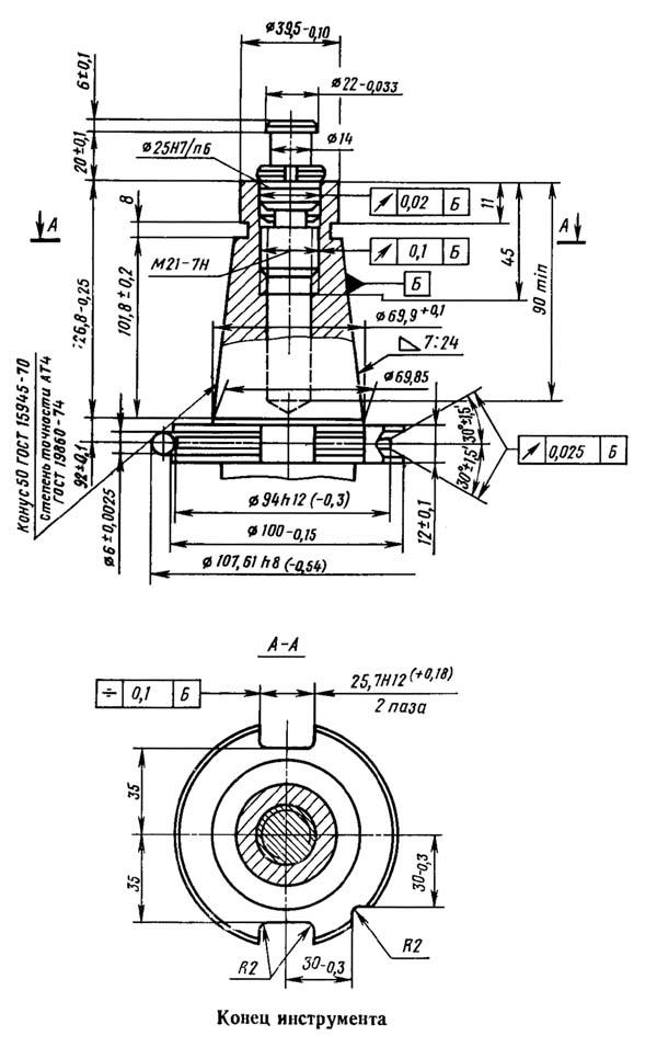 2254ВМФ4 Посадочные и присоединительные размеры вертикального сверлильно-фрезерно-расточного станка. Конец инструмента