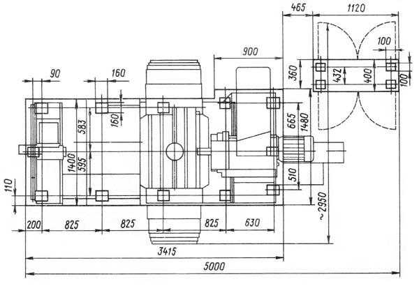 Установочный чертеж горизонтально-расточного станка 2А614, 2А614-1