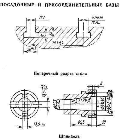 2В440А Посадочные и присоединительные базы расточного координатного станка