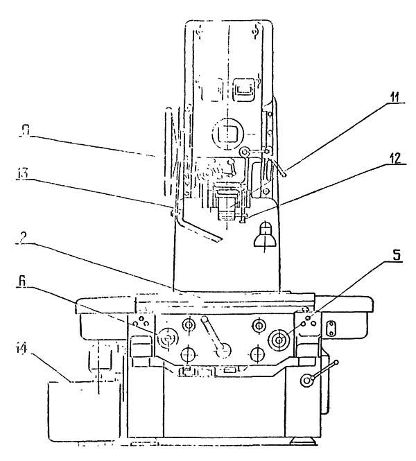 2Е440 Расположение составных частей расточного координатного станка