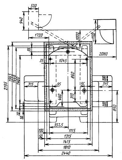 2Е440А Установочный чертеж координатно-расточного станка