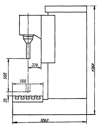 2е78п Габарит рабочего пространства расточного отделочного станка