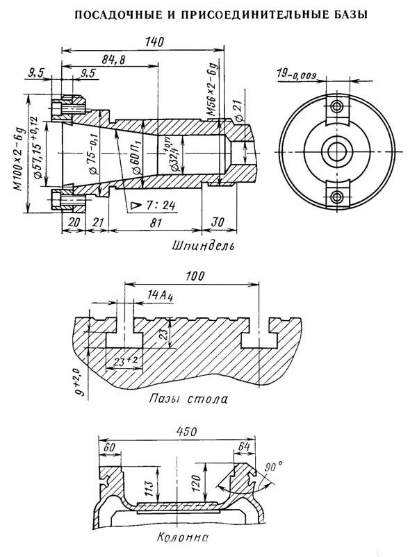 2е78п Посадочные и присоединительные базы расточного отделочного станка